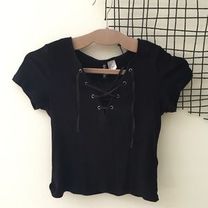 H&M Ribbed Lace Up Black Crop Top
